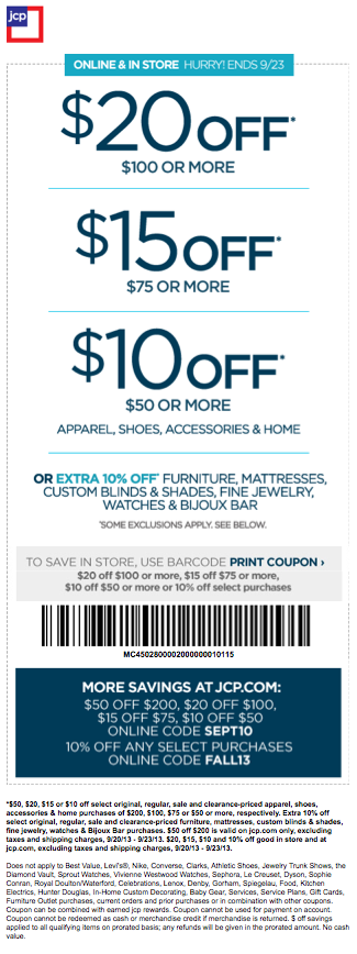 Jcpenney: Up To $20 Off Apparel, Shoes, Accessories & Home In Store