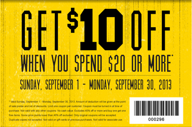 $10 off when you spend $20 or more. Expires on 9/30/13.